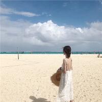 白色沙滩裙2019春季新款海边度假气质露背连衣裙女性感显瘦中长裙