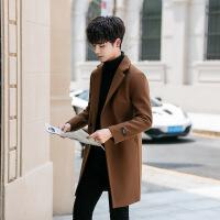 2018新款男士�L衣外套男款�n版潮流中�L款呢子毛呢大衣男加�q加厚