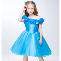 时尚灰姑娘同款公主裙女童礼服 新年儿童生日礼服迪士尼表演服