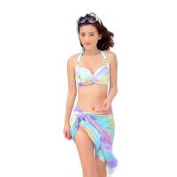 游泳衣女性感比基尼披纱三件套小胸聚拢钢托游泳装女