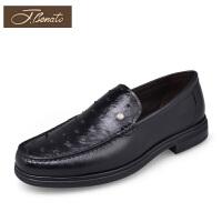 宾度中年男士皮鞋真皮男鞋鸵鸟皮宴会正装鞋商务鞋男套脚鞋爸爸鞋