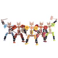 木玩世家儿童益智玩具积木玩具猫勇士