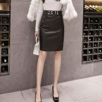 黑色皮裙女2018新款高腰包臀裙子一步裙�n版半裙半身裙秋冬中�L款 黑色