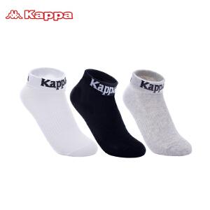 Kappa/卡帕(3双装)女袜子纯色字母logo棉质吸汗跑步运动袜子KP8W19