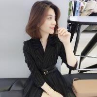 №【2019新款】冬天穿的连衣裙女秋长袖晚会礼服职业气质时尚西装裙子
