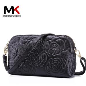 莫尔克(MERKEL)新款中老年女包牛皮女士手拿包优雅印花头层牛皮时尚手拿单肩包斜挎包