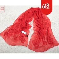 新款 丝巾女春秋冬季长款大红色结婚纱刺绣花围巾女GH56 丝巾-大红带钻 刺绣