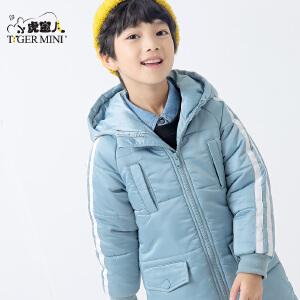 小虎宝儿童装冬天男童加厚棉衣加长过膝款2017新款小孩韩版棉袄潮