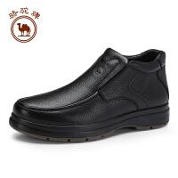 骆驼牌男靴 新品头层牛皮高帮厚底男鞋保暖毛绒内里靴子