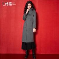 羊毛呢大衣2018冬装新款宽松反季韩版矮个子连帽呢子外套女中长款