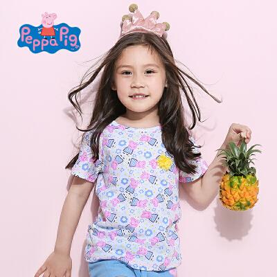 [满200减100]小猪佩奇正版童装女童夏装女童短袖T恤满印小猪上衣