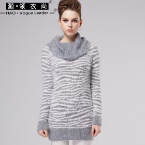 条纹堆堆领中长款毛衣豹纹虎纹修身灰色长袖紧身毛织连衣裙包臀秋
