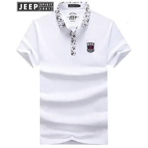吉普Jeep短袖T恤男 男士夏季舒适棉质t恤 商务休闲翻领男式POLO衫