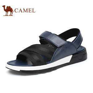 骆驼牌男鞋 新品时尚舒适拼接魔术贴露趾凉鞋休闲鞋男