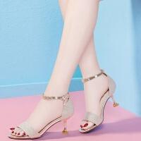 凉鞋女新款夏季高跟鞋女细跟韩版百搭中跟女士一字扣性感鱼嘴猫跟