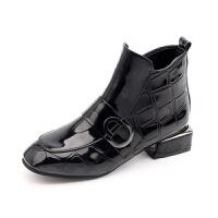2019秋冬季新款女鞋漆皮方头平底时装靴女英伦风短靴女踝靴子 黑色