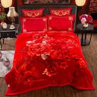 婚庆毛毯结婚双层毯子大红色双人加厚盖毯被子毛毯冬季绒毯 200cmx230cm误差5cm