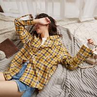 [2.5折价68.9元]唐狮春装2019款女格子衬衫韩版衬衣设计感小众格子衫长袖宽松上衣
