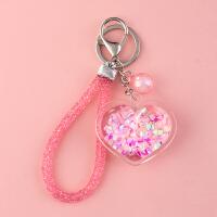 流沙爱心钥匙扣挂件创意个性可爱女汽车钥匙链圈环书包挂饰礼品