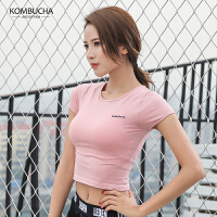 【限时狂欢价】Kombucha瑜伽短袖T恤2018新款女士速干透气跑步健身短款露脐运动上衣JCTX363