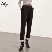 Lily春新款女装通勤腰带修身显瘦锥形裤哈伦裤118419C5906