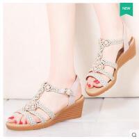 莫蕾蔻蕾凉鞋女学生夏季新款百搭时尚韩版鞋坡跟平底露趾一字扣休闲鞋70135