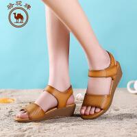 骆驼牌女鞋 夏季新品日常休闲女士 凉鞋透气舒适坡跟女凉鞋