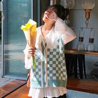 初春网红两件套女洋气2019新款韩版宽松针织马甲雪纺衬衫时尚套装