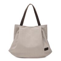 欧美潮帆布女包大包森系单肩手提布包大容量简约休闲托特包购物袋