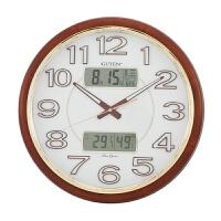 金钟宝实木挂钟客厅日历温湿度计静音夜光时钟中式复古大号石英钟 (夜光款) 18英寸