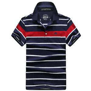 2018战地吉普AFSJEEP夏装新款纯棉弹力圆领短袖T恤衫 1727男士polo衫