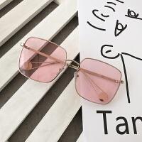chic街拍圆脸金属方框太阳镜女潮复古墨镜女个性前卫眼镜渐变时尚