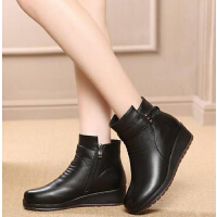 中老年短靴防滑女鞋 秋冬新款妈妈鞋棉鞋 大码加绒平跟棉靴女