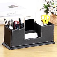 办公用品创意文具收纳盒 抽屉式笔筒置物架多功能皮革名片座