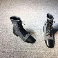 欧洲站女鞋2019春季新款欧货加绒方头格子英伦高跟粗跟马丁靴短靴