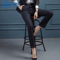 【12.12疯抢 2件6折】女先生2019新款韩版职业西裤女显瘦条纹女士西装裤直筒长裤