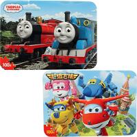 古部拼图 100片铁盒木质拼图二合一儿童玩具(托马斯2548+超级飞侠2552)