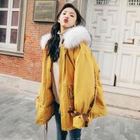 女短款2018冬季新款学生韩版宽松bf工装棉衣外套加厚chic棉袄 孔雀蓝 M