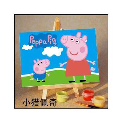 diy数字油画10*15diy油画手绘迷你儿童卡通数字画 小粉猪 小猪佩奇图片