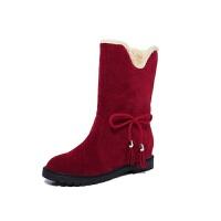 秋冬雪地靴女短靴女鞋防滑平底加绒加厚短筒靴保暖两穿棉鞋女