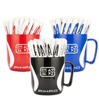 爱好AH801A中性笔 办公记事笔 学生半针管0.5mm考试笔 教师批改红笔 商务黑色签字笔 蓝色笔 48支装