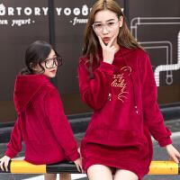2018新款韩版潮母女装女童金丝绒卫衣加绒上衣母子装亲子装秋冬装