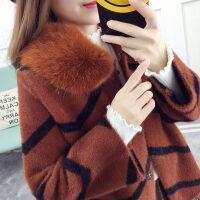 毛领条纹仿貂绒外套开衫女短款2017新款加厚百搭韩版针织毛衣开衫 焦糖色 均码