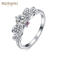 Romanti罗曼蒂珠宝 白18K金钻石戒指 蝴蝶结50分主石女戒 0.5克拉钻石 需定制 50分 VS/H