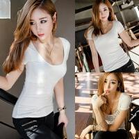 纯白色夏天女装衣服紧身短袖T恤修身体恤小衫低领U领女士上衣