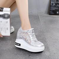 韩版夏季ulzzang女鞋透气小白鞋内增高厚底10cm超高跟网面运动鞋