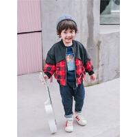 儿童薄棉衣外套男童格子休闲服宝宝童装