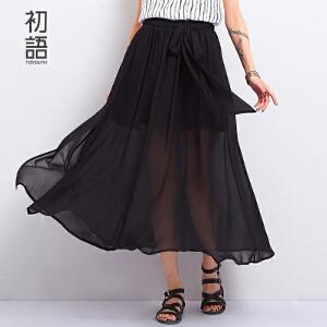 初语夏季新品  雪纺飘逸系带开叉长半裙女8621716809