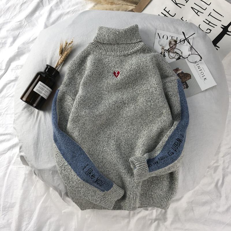 秋季装情侣羊绒针织衫毛衣男士加厚高领线衣外套韩版潮流学生上衣