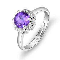玫瑰花开口戒指天然紫水晶活口指环送女友生日礼物